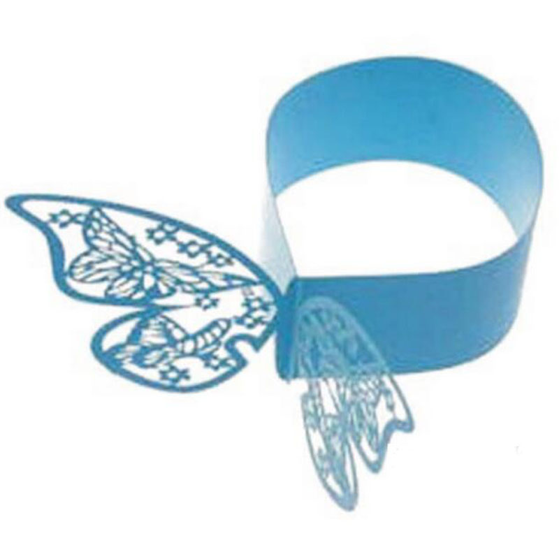 50Pcs Sky Blue Butterfly Napkin Rings/Wrap Wedding Holder Weddings Party Home Decoration Table Decoration