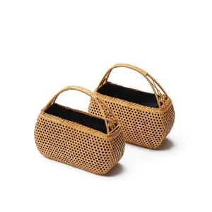 Image 3 - 여성 대나무 손 가방 보헤미안 비치 핸드백 레이디 빈티지 등나무 핸드백 중공 수제 짠 바구니 토트