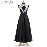 Fashion A Line High Neck Black Twill Satin Evening Gowns with White Soluble Lace Cap Sleeve Women's Long Formal Evening Dress