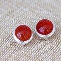 Piedras semipreciosas naturales 925 atmósfera de la manera de las mujeres de plata de Ley ágata roja Simple partido circular Onyx novia de regalo