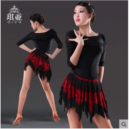 Latin Dance Kleid Sexy Silky Velvet Latin Girls Fransen Ballsaal Rock - Kunst, Handwerk und Nähen - Foto 1