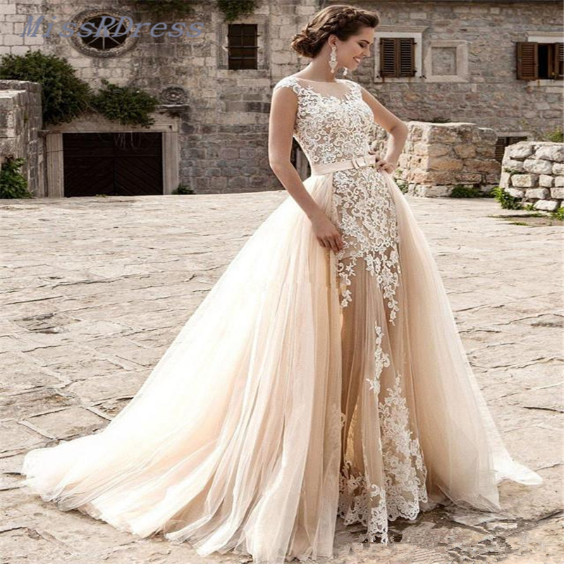 Champagne Lace Wedding Gown: 2017 Removable Skirts Champagne Beach Wedding Dresses With