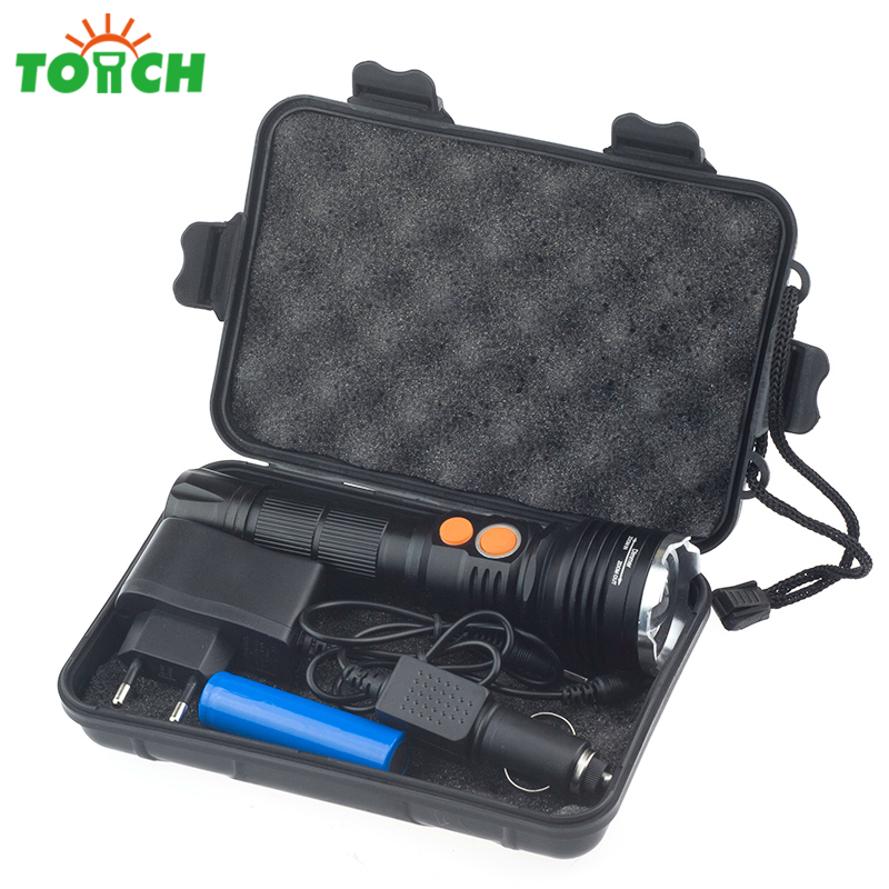 Super Bright Cree xml T6 Cob Kit Led Flashlight Tail Magnet Hand Lantern Rotating Focus Torch