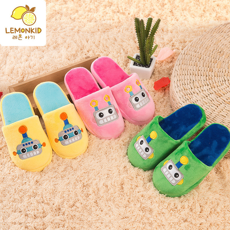 KOREA LEMONKID Cartoon Kids Cotton Padded Slipper Boys Winter Children Cotton Slippers Girls Durable Nonslip Baby