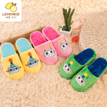 KOREA LEMONKID Cartoon Kids Cotton-Padded Slipper Boys Winter Children Cotton Slippers Girls Durable Nonslip Baby House Shoes