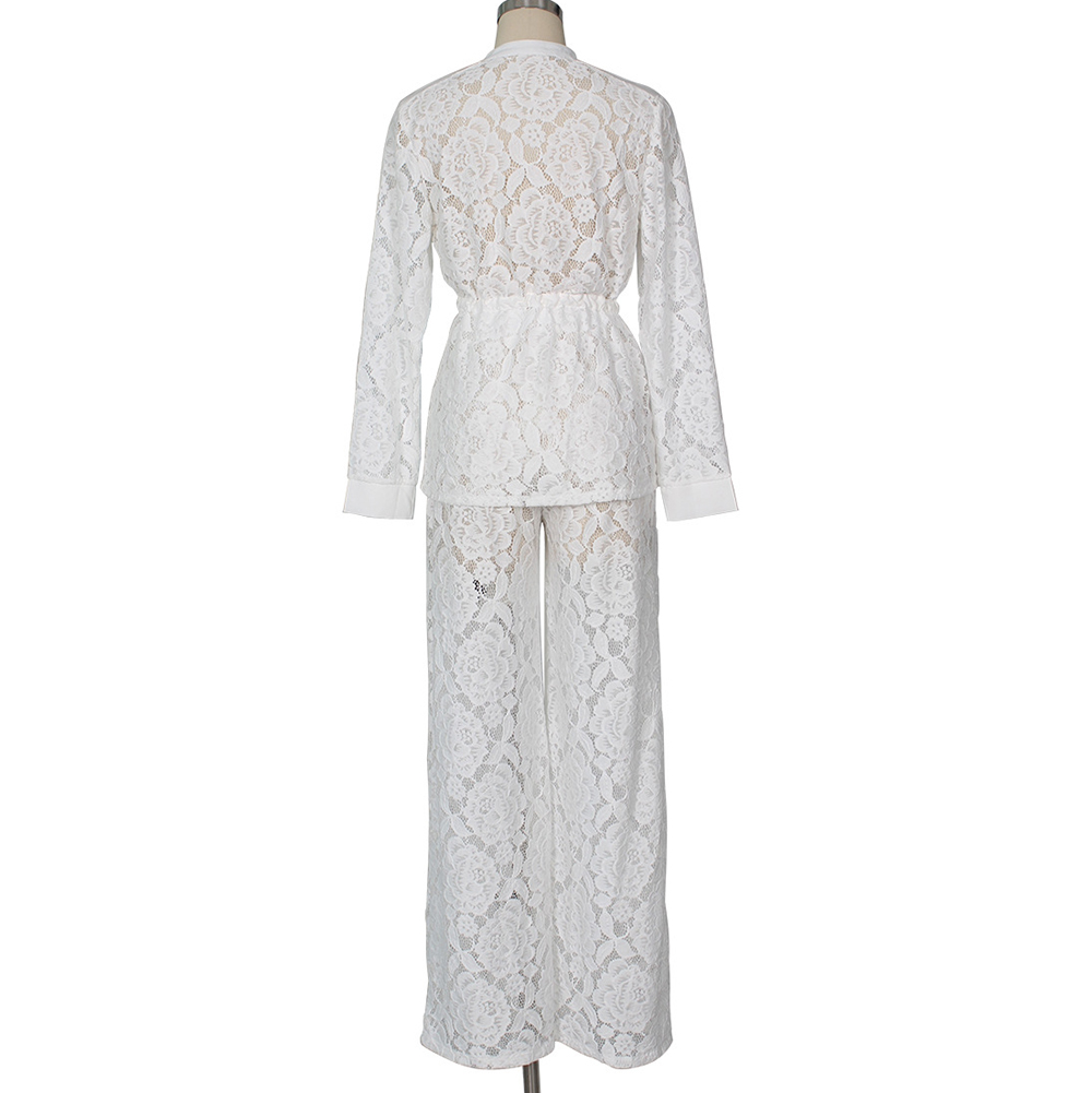 31a0ccc000 Completo donna in pizzo a due pezzi Set completo donna Set 2 pezzi Pantaloni  F0704 bianco con cintura