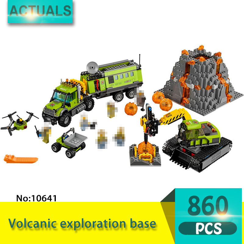 bela 10641 860Pcs City series Volcanic exploration base Model Building Blocks Set Bricks Toys For Children Gift 60124 sermoido 02012 774pcs city series deep sea exploration vessel children educational building blocks bricks toys model gift 60095
