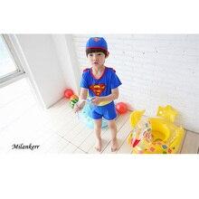 Children Swimsuit Cute Superman Swimwear Set Boys Beachwear with a Hat Kids Bathing Suit Surf for Baby Boy