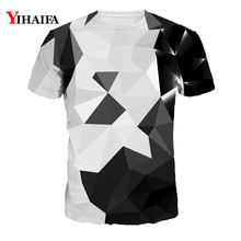 Men Women 3D Print T Shirt Black White Geometric Casual Tee Shirts Short Sleeve Tops Plus Size Unisex Graphic Tees