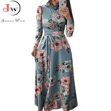 Damska letnia długa sukienka 2021 Casual z długim rękawem w stylu Boho w kwiaty drukuj Maxi sukienka z golfem bandaż eleganckie sukienek Vestidos tanie tanio Junxi Wan POLIESTER A-LINE Dla osób w wieku 18-35 lat WQ1236 Jesień Z dekoltem turtleneck Pełne Rękawy motylkowe WOMEN
