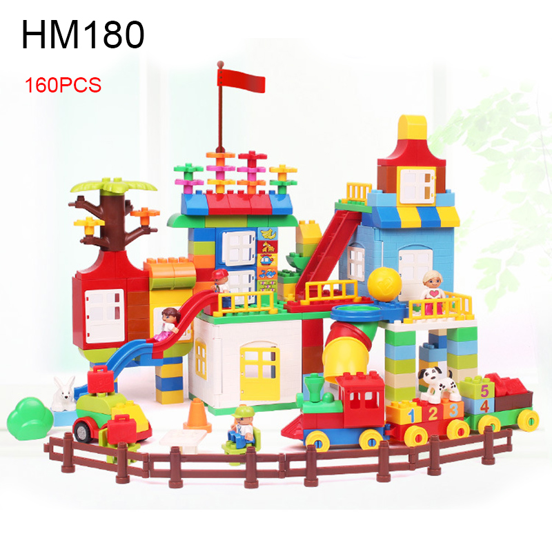 160pcs HM180 Large Size Funny Playground Building Blocks Big DIY Bricks Educational Duploe Baby Toys Christmas Gift educational toys self locking bricks grandpa s farm set quality abs big building blocks funny diy toys boys girls best gift