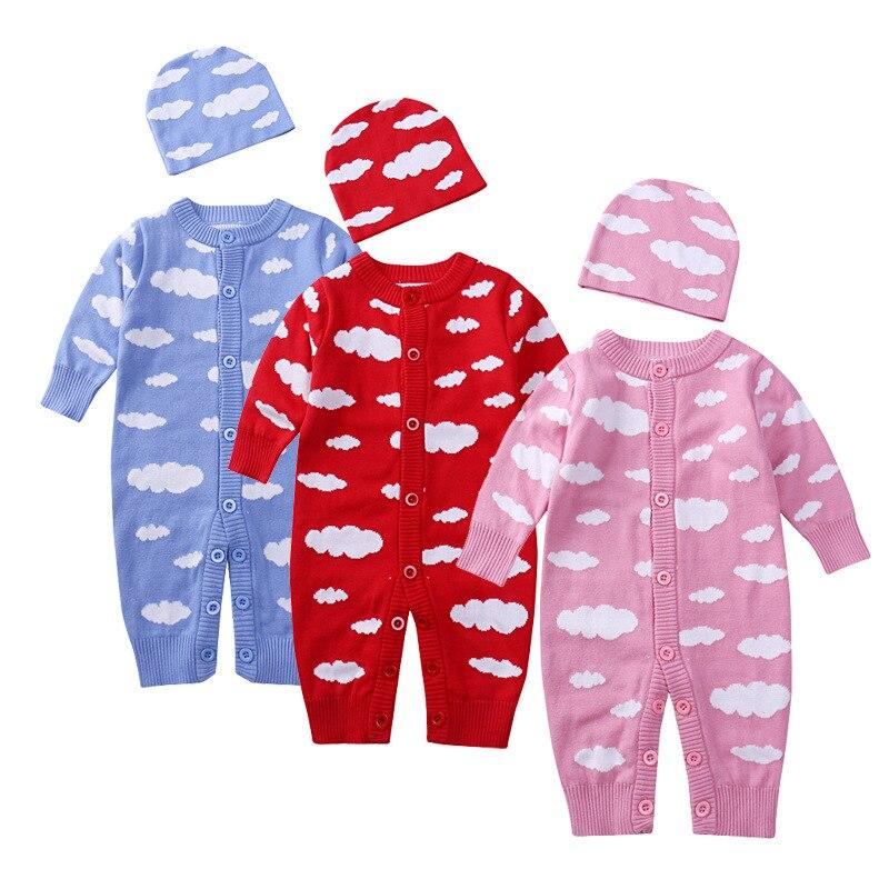 Осень 2017 г. Детские Длинные рукава Детский комбинезон Мода для маленьких мальчиков и девочек облака шерстяные Джемперы шляпа набор нового г...