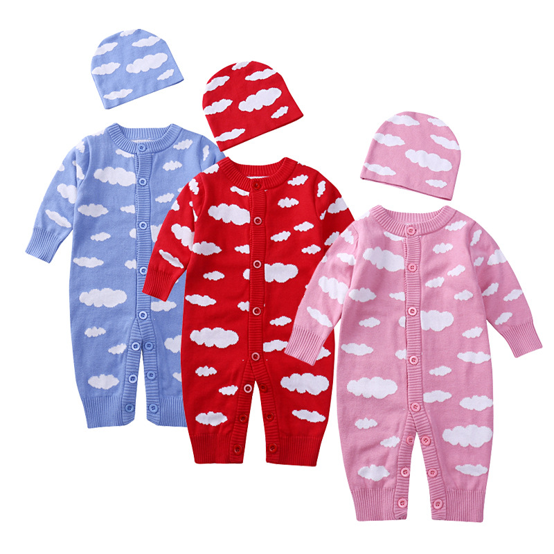 2017 Autumn infant long sleeve rompers fashion baby boys girls clouds woollen jumpers hat set new years kids stuff goods 17N1120