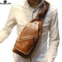 Neue Mode Vintage Männer Messenger Taschen brusttasche Reise Männliche leder Casual Brust Kleine Retro Militär Umhängetasche