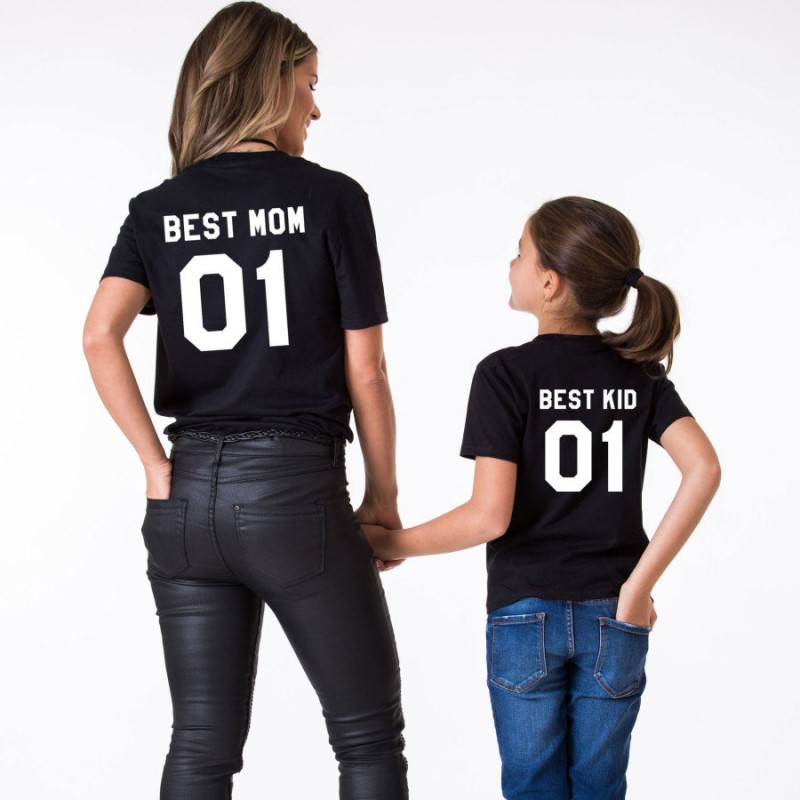 Family Matching T Shirts Best Mom Best Kid Print Plus Size Fat Women Children Summer Clothes  Mommy And Me Mum Daughter Clothes