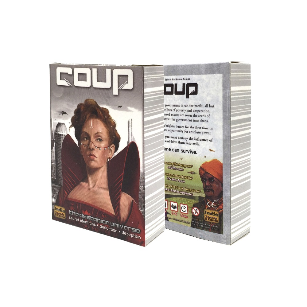 2018 High Quality Coup Game Full English Version For Party Family Board Game Cards Game