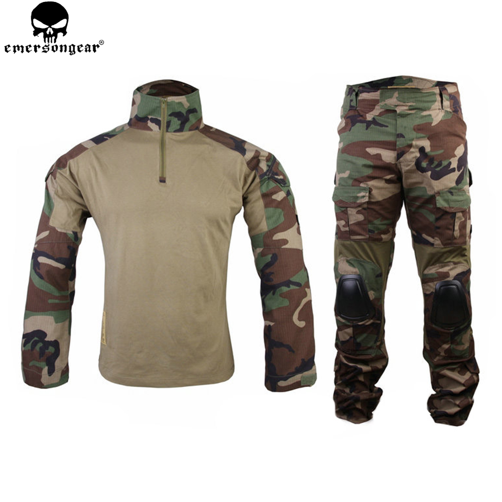 Emersongear Combat Uniform Hunting Clothes Camouflage Ghillie Suit emerson Woodland Tactical Pants with Knee pads EM6974 mgeg militar tactical cargo pants men combat swat trainning ghillie pants multicam army rapid assault pants with knee pads