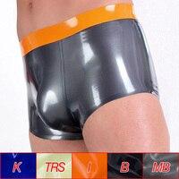 Wholesale Men Latex Rubber Boxer Briefs Sexy Bulge Pouch Panties Thickness 0.4mm Underwear Fetish Shorts Male Lingerie