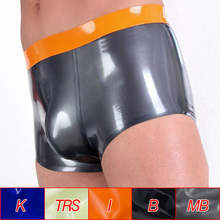 Wholesale Men Latex Rubber Boxer Briefs Sexy Bulge Pouch Panties Thickness 0.4mm Underwear Fetish Shorts Male Lingerie