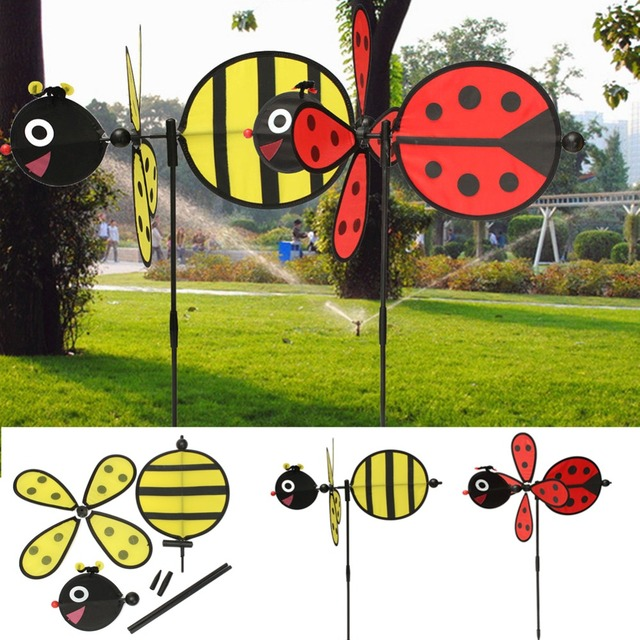 Ble Bee Ladybug Windmill Whirligig Wind Spinner Home Yard Garden Decor Outdoor