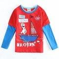 Ropa de los muchachos camiseta ocasional con un precioso Olaf impreso niños otoño/primavera ropa de niño superior del niño traje A5438Y