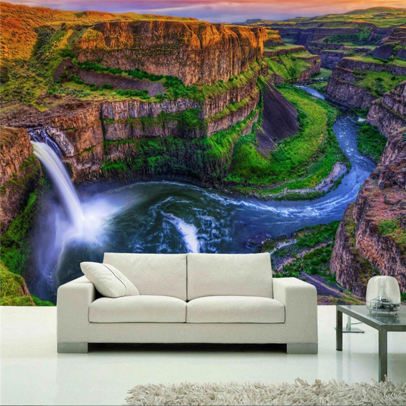 beibehang Wallpaper Mural Wall Sticker Alpine Waterfall Falls Sunrise River Landscape New Chinese Background Wall Mural