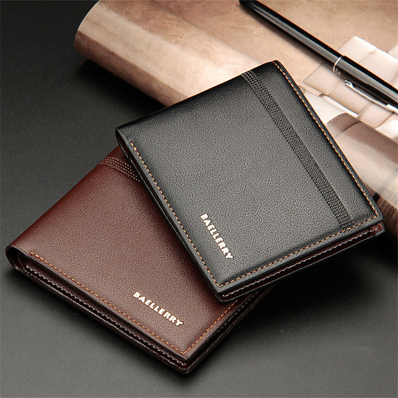 Genuine Leather Men Wallets Short Design ID Card Holder Waterproof Black Male Wallet Casual Top Quality Men Purse