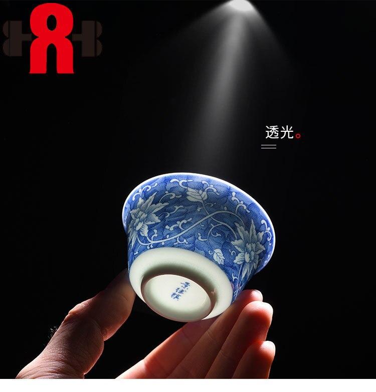 6 pcs/ensemble bleu-et-blanc en céramique tasse de thé, puer tasse de thé porcelaine chinois kung fu thé ensemble Haute Qualité Kung Fu Main-Peint Voyage