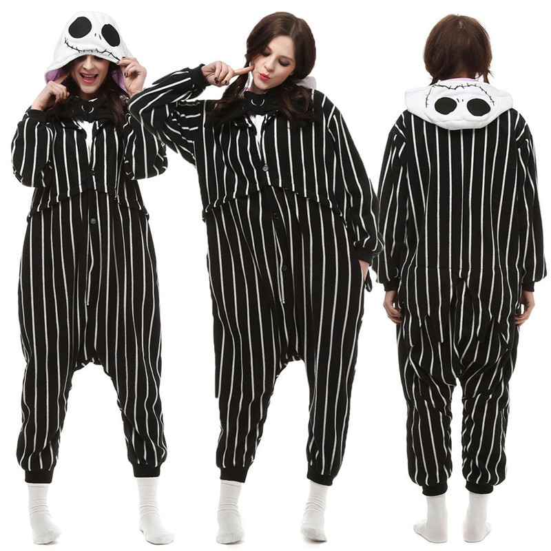 Christmas Halloween Birthday Gift Jack Pajamas Homewear Hoodie Onesies Sleepwear Robe For Adults