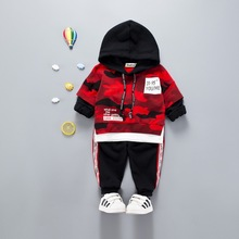 New Fashion Children's Suit Spring and Autumn Boys Camouflage Hooded Two-piece Set of Cotton Baby Clothes Kids Sets