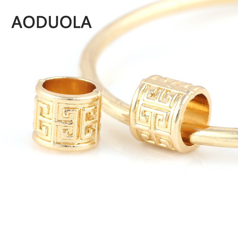 10 Pcs a Lot Gold-Color Alloy Beads Round Tube DIY Big Hole Metal European  Beads Charm Bead Fit For Pandora Charms Bracelet 3aefaaf3903f