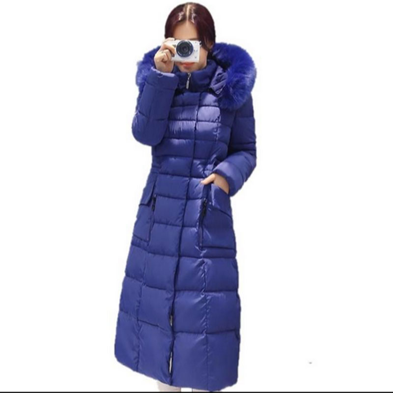 Fashion Winter Women Jacket Coat Long Parka Luxury Fur collar Hooded Thicker Cotton-Padded Coat Women new Jackets Plus Size yi la 2017 new winter fur collar hooded down cotton coat fashion women s long coat cotton warm jacket parka plus size 3xl s869