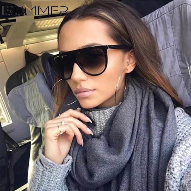 Thin Flat Top Sunglasses Women Luxury Brand Designer Retro Vintage Sun Glasses Female Kim Kardashian Sunglasses Clear Glass