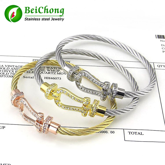 Brass U-shaped full buckle steel wire buckle bracelet force fred