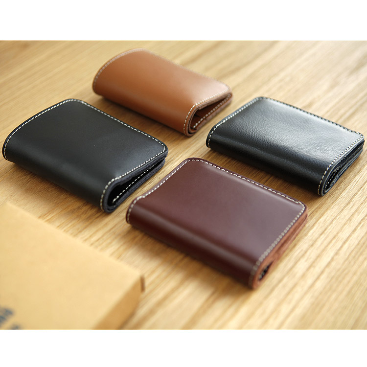 LANSPACE designer handgjord läder plånbok herr plånbok liten - Plånböcker - Foto 2