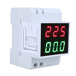 Cyfrowy amperomierz LED na szynie Din miernik prądu woltomierz AC80-300V 0.2-99.9A podwójny wyświetlacz