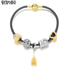 REAMOR Fashion Women Plating Gold Eiffel Tower Charm Beads Bracelet Jewelry Travel Style Genuine Leather Braided Chain Bracelets(China)