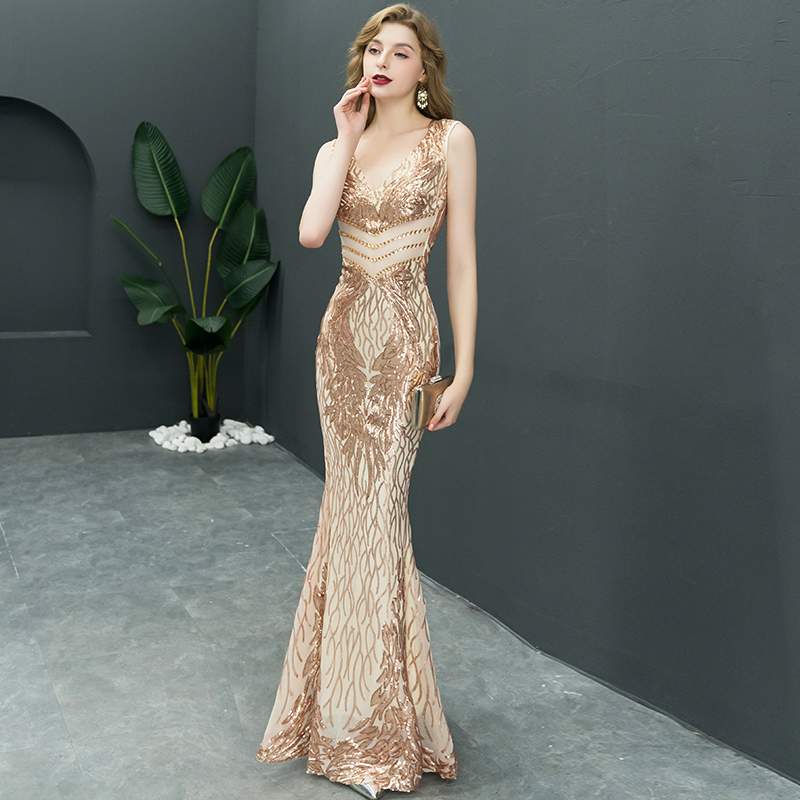 2019 New Double-V Long   Evening     Dress   vestido de festa Sexy Backless Luxury Gold Sequin formal party   dress   prom gowns LF349