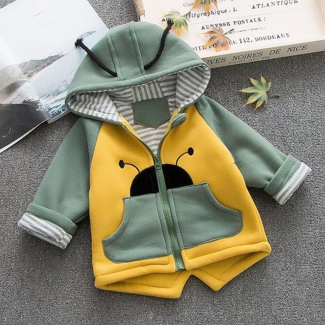 Trẻ em hoodies dày của 2019 mới mùa thu mùa đông chàng trai cô gái bông phim hoạt hình bọ cánh cứng áo