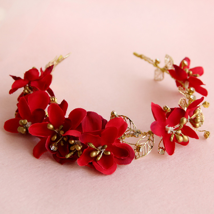 Handmade bridal headdress flower hair hoop gold leaf red cheongsam accessories wedding hair jewelry vintage women accessory ...
