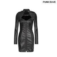 Fashion Sexy Elegant Vintage Clothes Autumn Dress Female Gothic Dark Arts Zipper Punk Rock PU Leather Dresses PUNK RAVE Q 337F