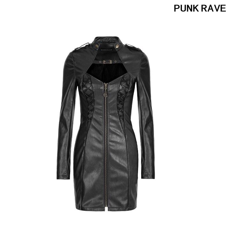 Mode Sexy élégant Vintage vêtements automne robe femme gothique foncé Arts Zipper Punk Rock PU cuir robes PUNK RAVE Q-337F