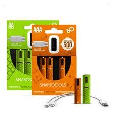 4Pcs/lot 1.2V AA/AAA Rechargeable Battery 450mah 1000mAh NI-MH Micro-USB Rechargeable batteries With 2-1 charging line стоимость
