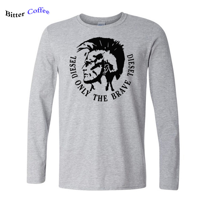 New Autumn winter Diesel print t shirt men's Diesel only the brave Diesel print O neck Long sleeve male cotton Tees shirts