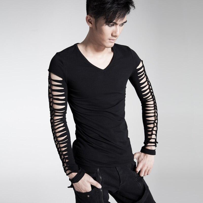 punk rave fashion mens gothic visual kei black tee shirt top