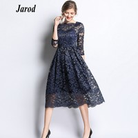 2019 Spring Floral Crochet Lace Dress Plus size Work Casual Women Party Dresses Sexy Office Vintage Vestidos