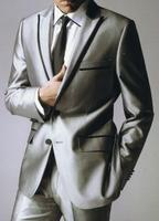 2017 neuesten Mantel-Hose Designs Silber Grau Satin Männer Anzug Formale Slim Fit Blazer Masculino Einfache Custom Smoking 2 Stücke Jacke U
