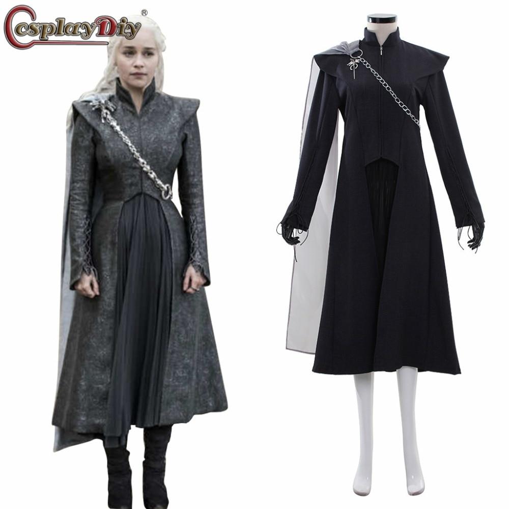 CosplayDiy Game of Thrones Season 7 Cosplay Daenerys Targaryen Dress Mother of Dragons Costume Women Full Costumes For Halloween