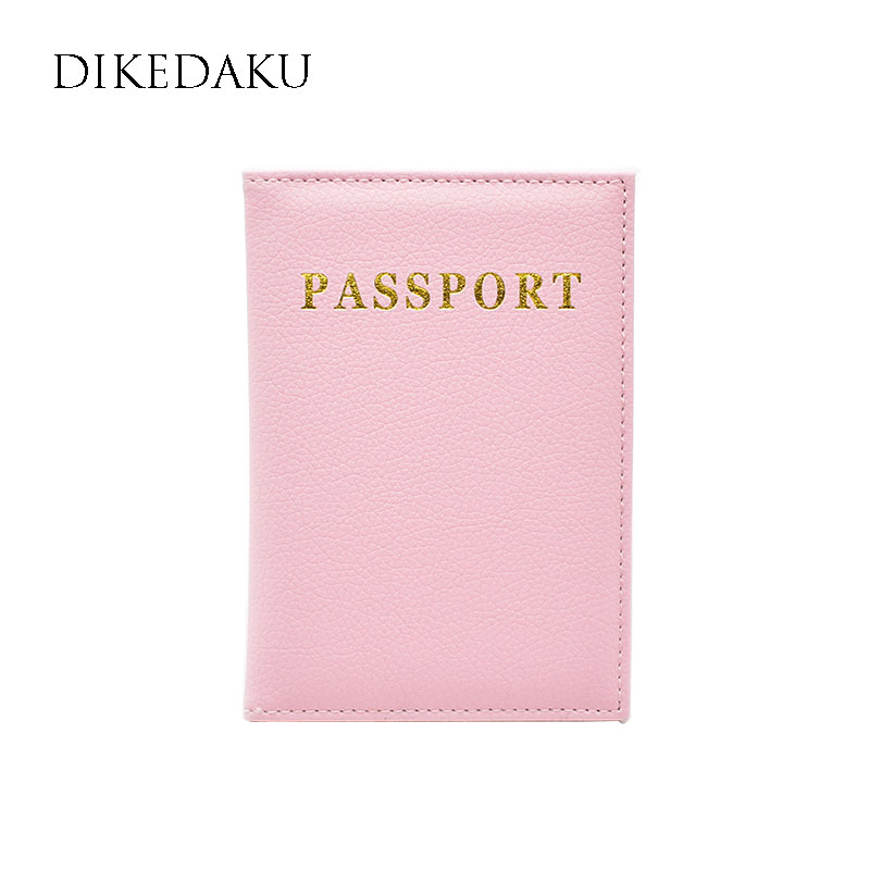 DIKEDAKU New Fashion Women Passport Cover Pink Soft Pu Leather Passport Holder Wallet Personal Travel Passport Case for Passport