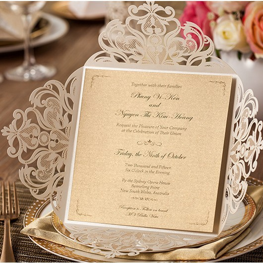 High Class White Laser Cut Flower Wedding Invitations with ...